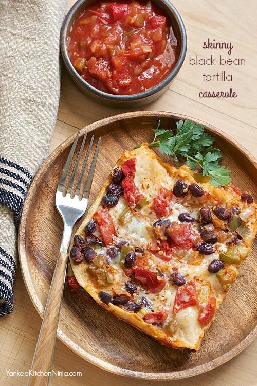 Skinny black bean tortilla casserole
