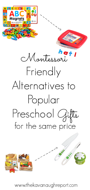 Here are some Montessori friendly alternatives to popular preschool gifts that cost the same or similar amount!