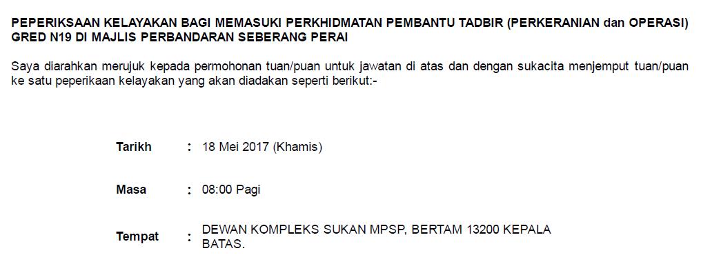 Exam Kelayakan Pembantu Tadbir Perkeranian Dan Operasi Mpsp 2017 Mellya Crayola