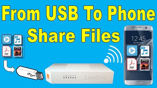 Livebox Share files usb to phone