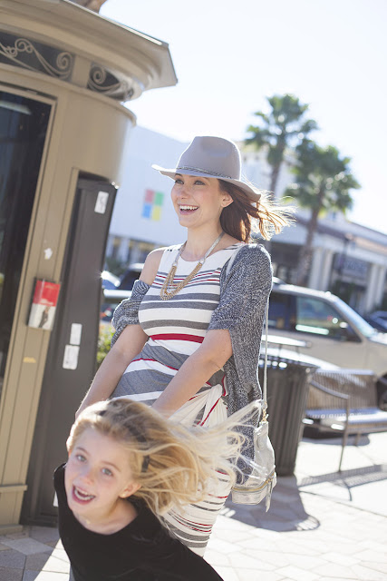 Amy West and daughter in looks by Anthropologie and Kids Gap