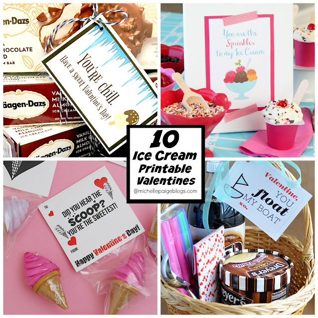 DIY Ice Cream Printable Valentines @michellepaigeblogs.com