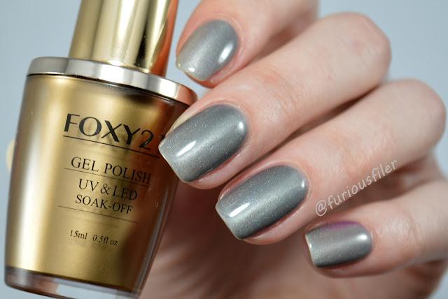 thermal grey purple gel polish magnetic cat eye