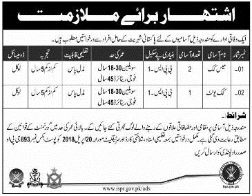 Latest Government Jobs 2018 under Pakistan Army for Mess Cook, Cook Unit