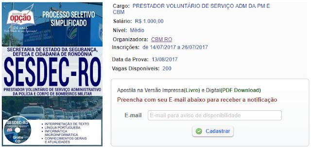 Apostila SESDEC Prestador Voluntário de Serviço Administrativo