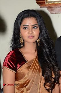 Actress Anupama Parameswaran Stills in Silk Saree with Shatamanam Bhavati Team at Sandhya Theater  0018.JPG