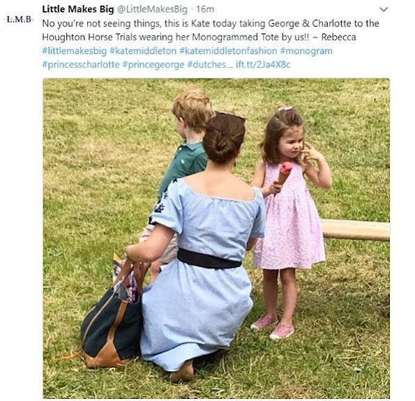 Kate Middleton wore ZARA flocked print dress, Kate Middleton carried Little Makes Big Monogrammed Tote. Princess Charlotte and Prince George