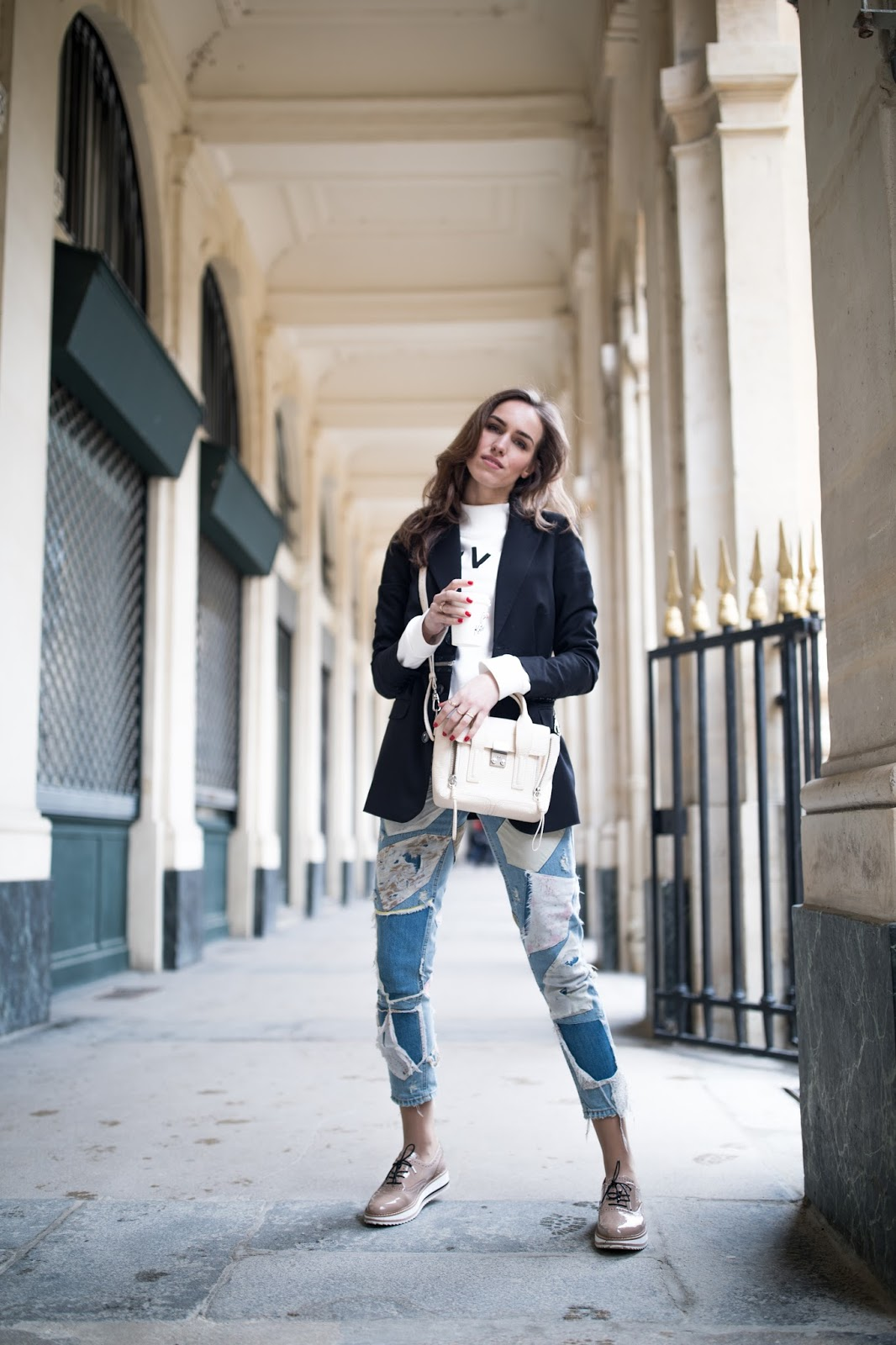 blazer sweater outfit paris street style
