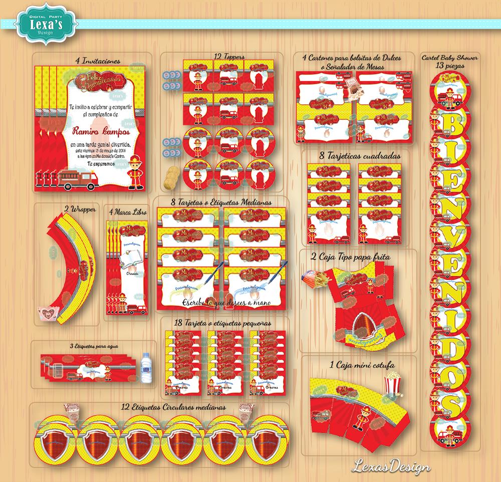 Kit imprimibles para fiestas Bomberos Fireman gratis