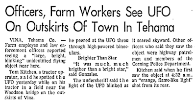 Police Officers, Farm Workers See UFO On Outskirts of Town - The Sacramento Bee 5-29-1969