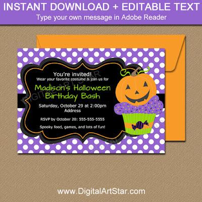 purpke kids halloween birthday party invite with pumpkin cupcake