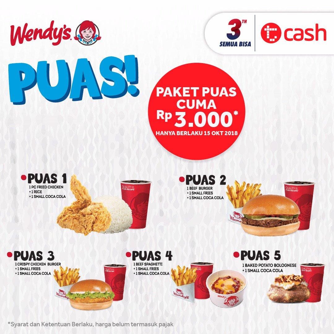 Wendys - Promo Paket Puas Cuma 3 Ribu (15 Okt 2018)