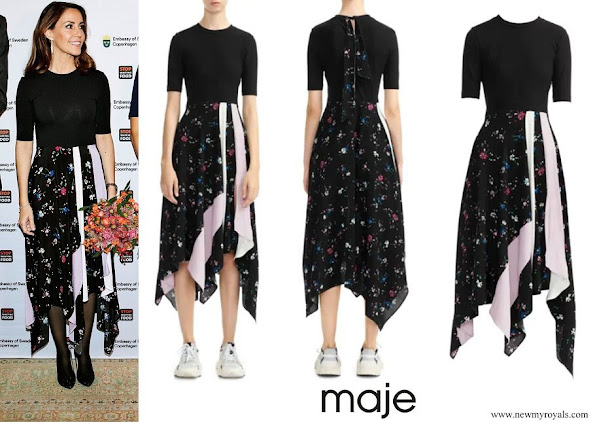 Princess Marie wore Maje Rilla Floral Two Tone Patch Midi Dress