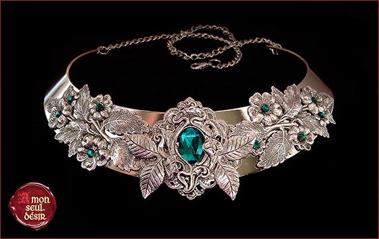 collier vert émeraude feuille argent végétal elfique green man emerald leaf necklace elven jewelry