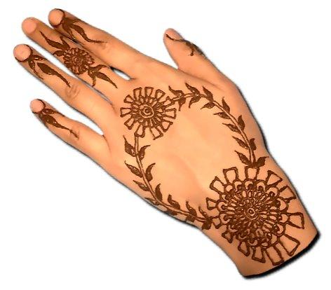 Unique Back Hand Henna Pattern