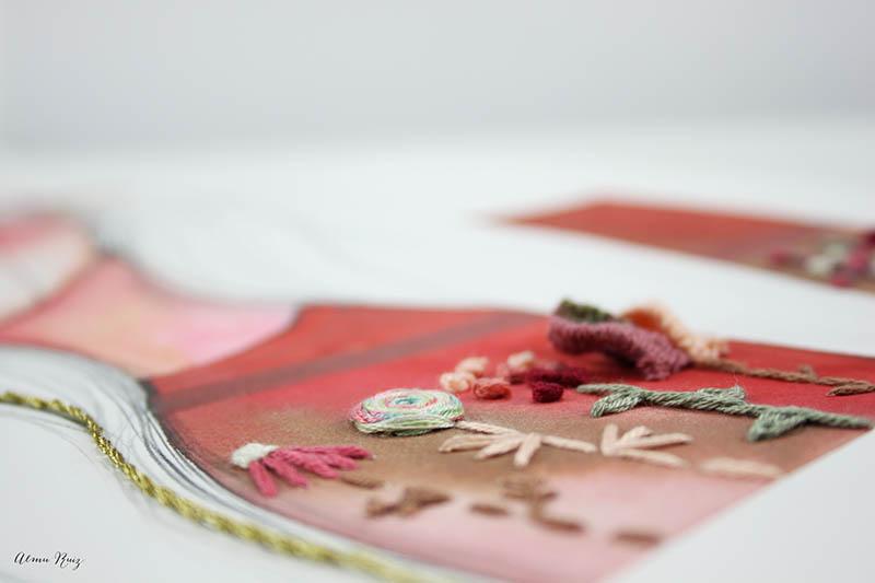 Bordado floral sobre ilustración de Ana Santos
