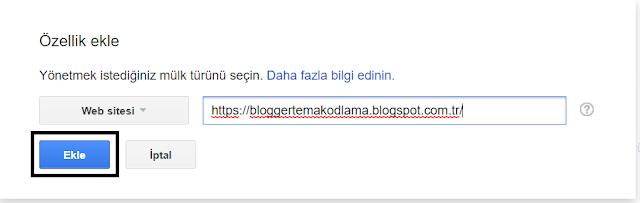 Blogger site doğrulamada site ekleme