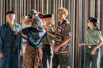 David Sawer: The Skating Rink - Sam Furness (Gaspar), Steven Beard (Karaoke singer), Chris Harrison-Kerr & Sacha Plaige (policemen) - Garsington Opera (Photo Johan Persson)