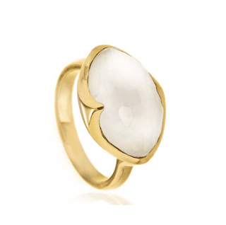 Missoma Gold Vermeil Ring Mother Pearl Quartz Doublet