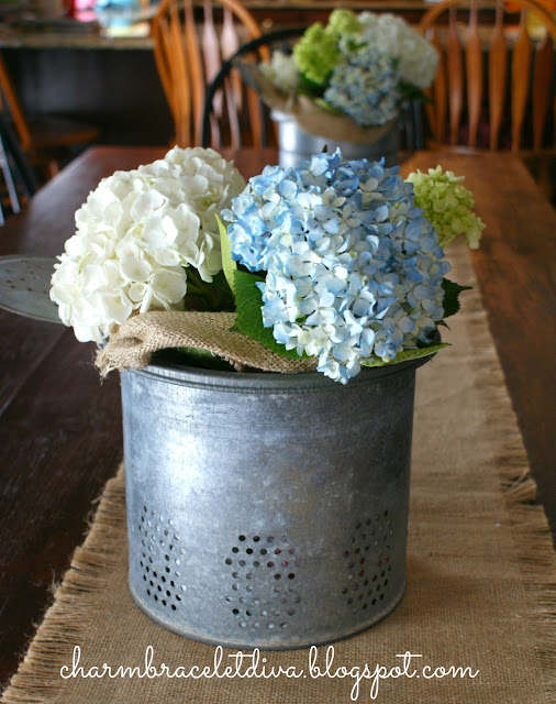 How to display hydrangeas in vintage galvanized minnow buckets