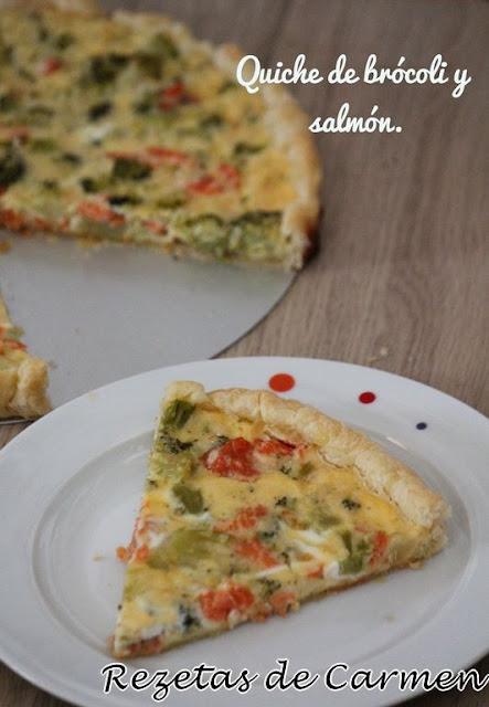 Quiche de brócoli y salmón.
