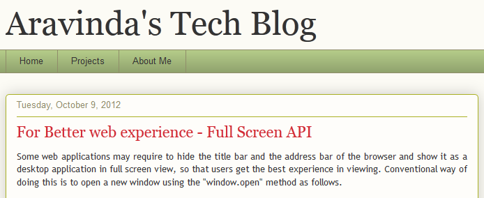 Aravinda's Tech Blog: For Better web experience - Full