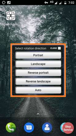 Screen rotation control app