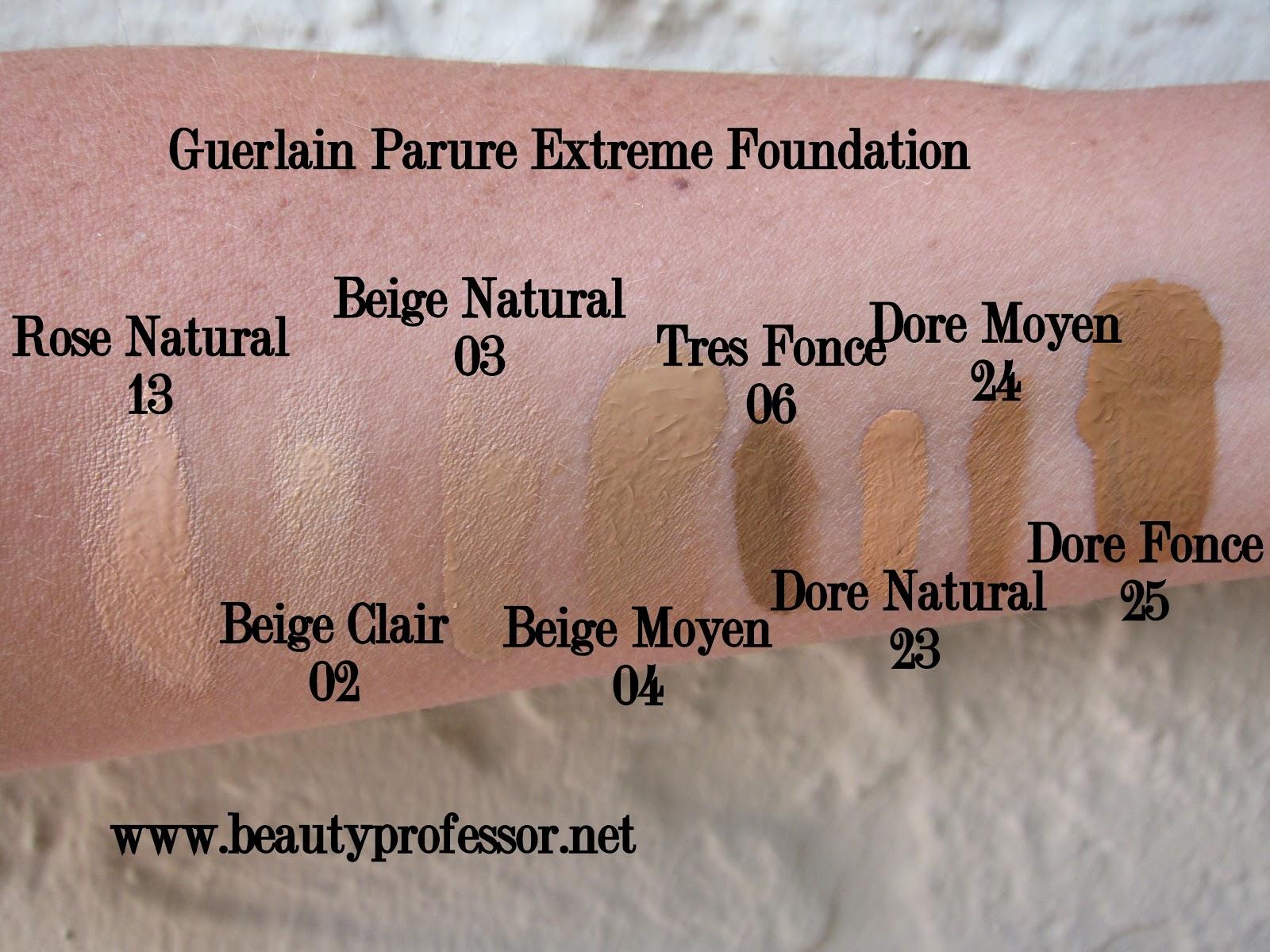 design elegante ottima vestibilità di modo attraente Beauty Professor: Guerlain Parure Extreme Foundation Swatches