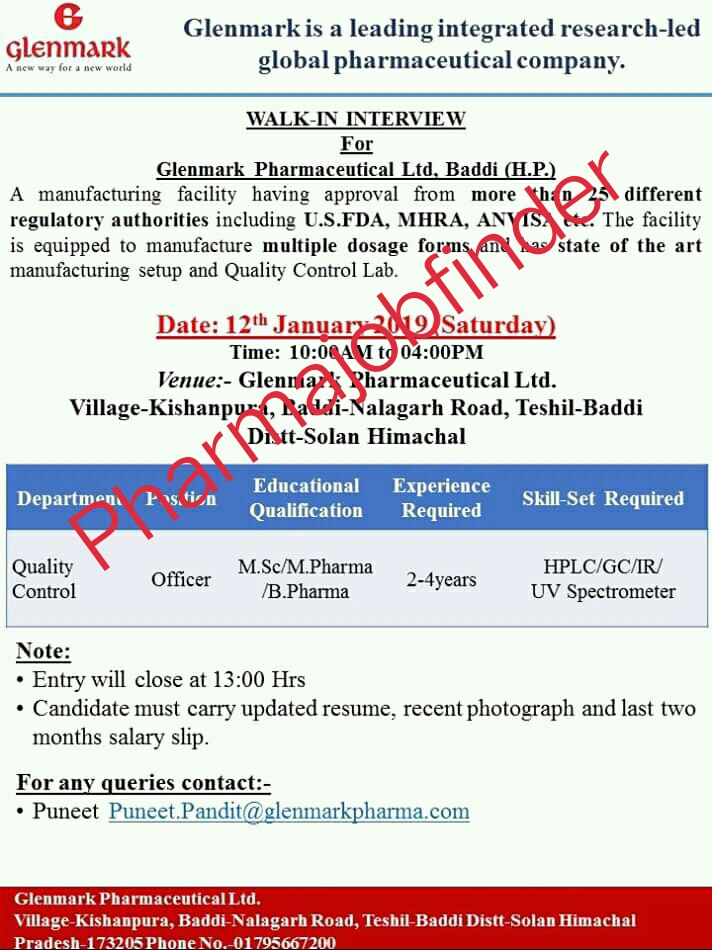 Glenmark pharmaceuticals Limited Walk -In Interview For