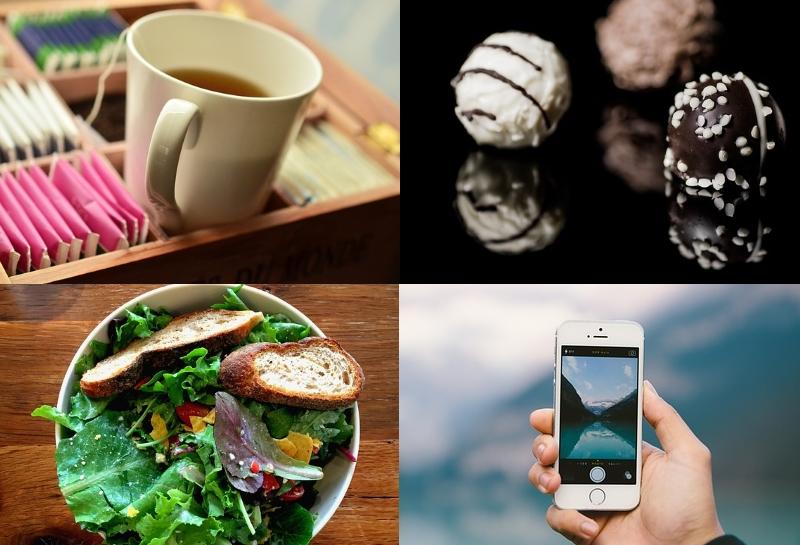 Chá, chocolate, salada e smartphone.