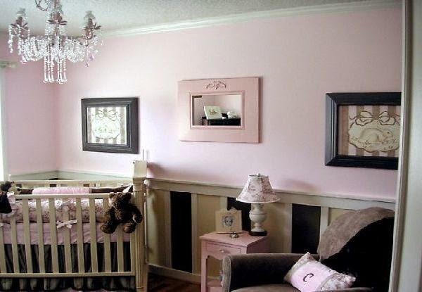 Habitación bebé gris rosa