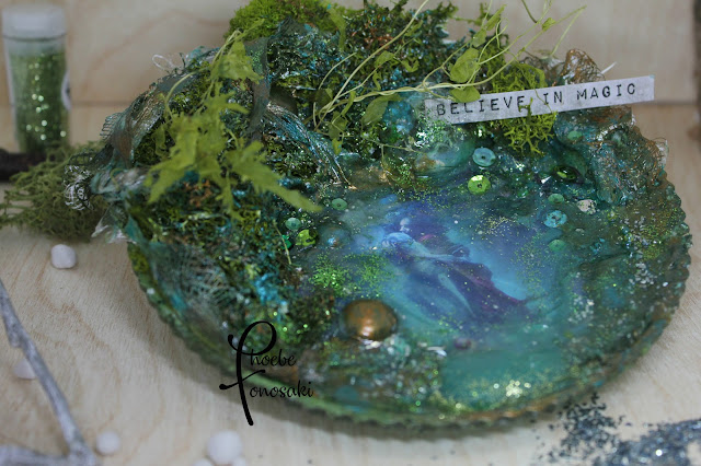 Mixed Media Altered Plate Believe in Magic by Phoebe Tonosaki