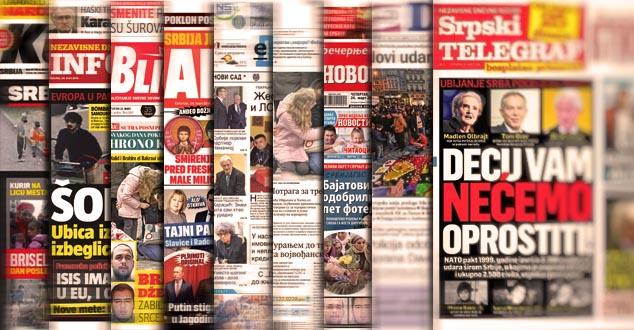 Насловне стране новина у Србији: шта је данас?