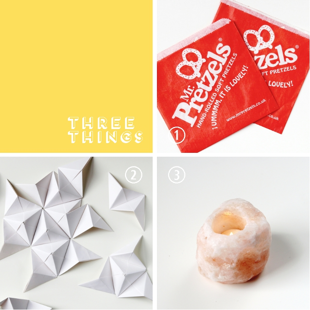 Three Things I Love Right Now: Pretzels, 3-D Origami and Crystal Candles.