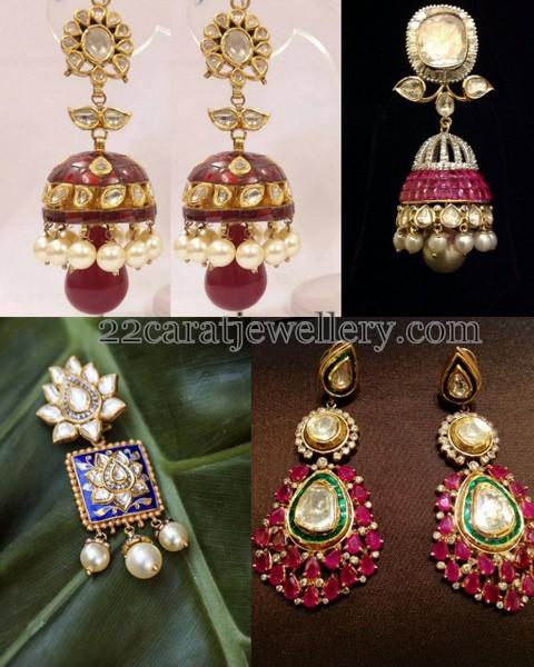 Meena Work Kundan Jhumkas Jewellery Designs