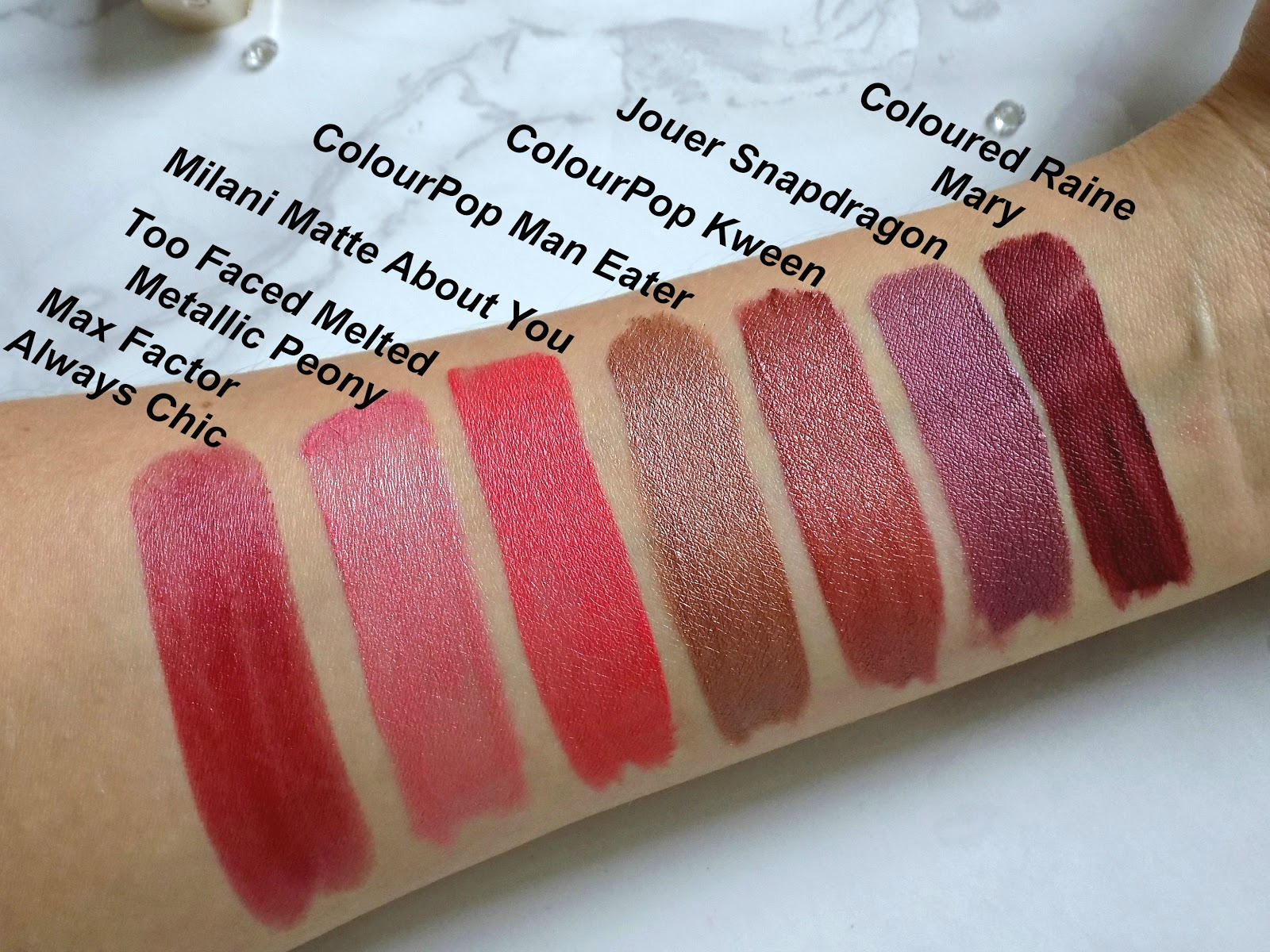 metallic lipsticks swatches
