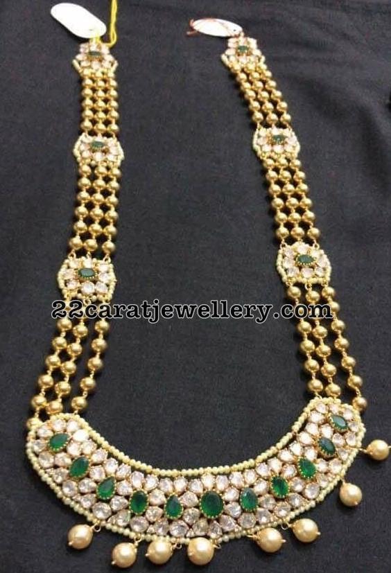Three Layer CZ Emerald Gold Beads Set