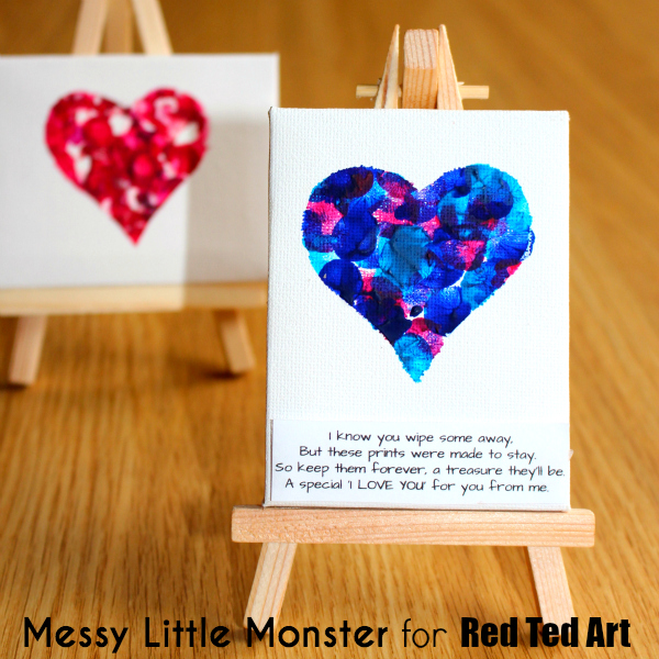 fingerprint heart keepsake poem for kids. Easy valentines day or mothers day craft for toddlers and preschoolers.