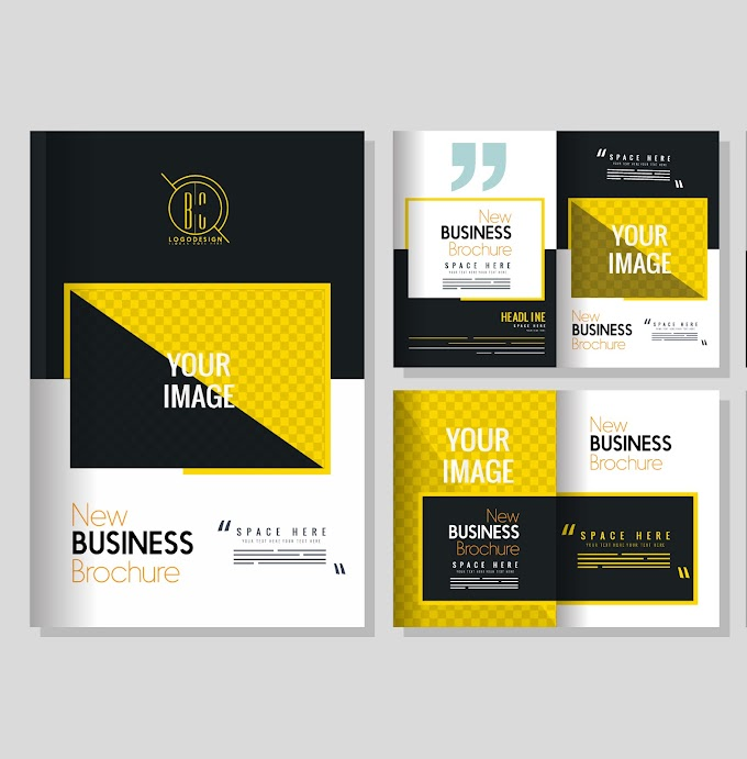 Corporate brochure templates modern colorful elegant design Free vector