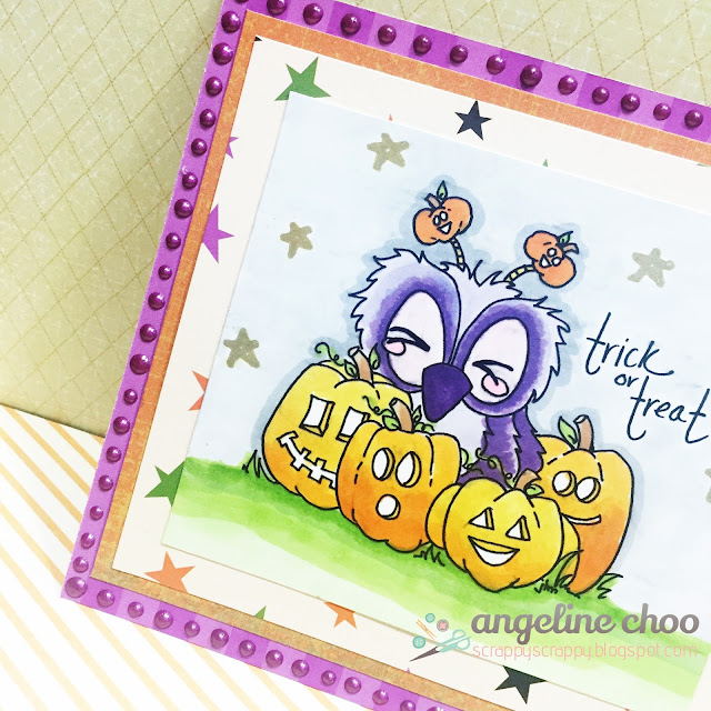 ScrappyScrappy: Trick or Treat in the Pumpkin Patch with JLO Stamps #scrappyscrappy #jlostamps #card #cardmaking #halloween #pumpkinpatch #brentwoodowl