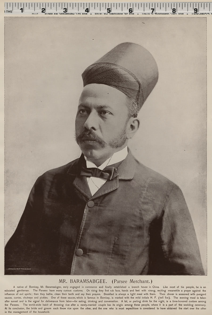 Mr. Baramsabgee, Parsee Merchant - 1893 Portrait