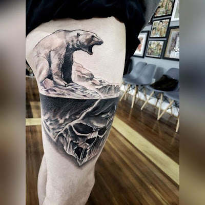 thigh bear tattoo