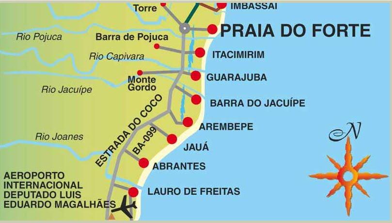 praia mapa Mapas da Praia do Forte   BA | MapasBlog praia mapa