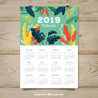 Calendario para 2019 en diseño plano