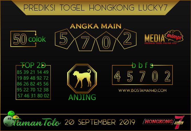 Prediksi Togel HONGKONG LUCKY 7 TAMAN TOTO 20 SEPTEMBER 2019