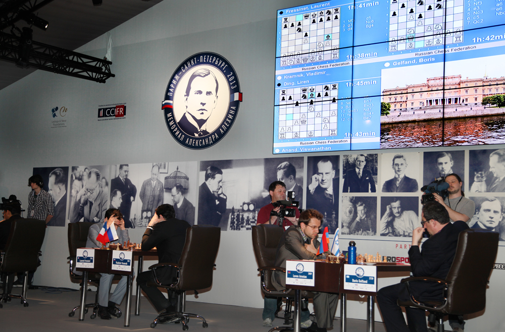 Alekhine Chess R5: Maxime Leads ~ Chess Magazine Black and White