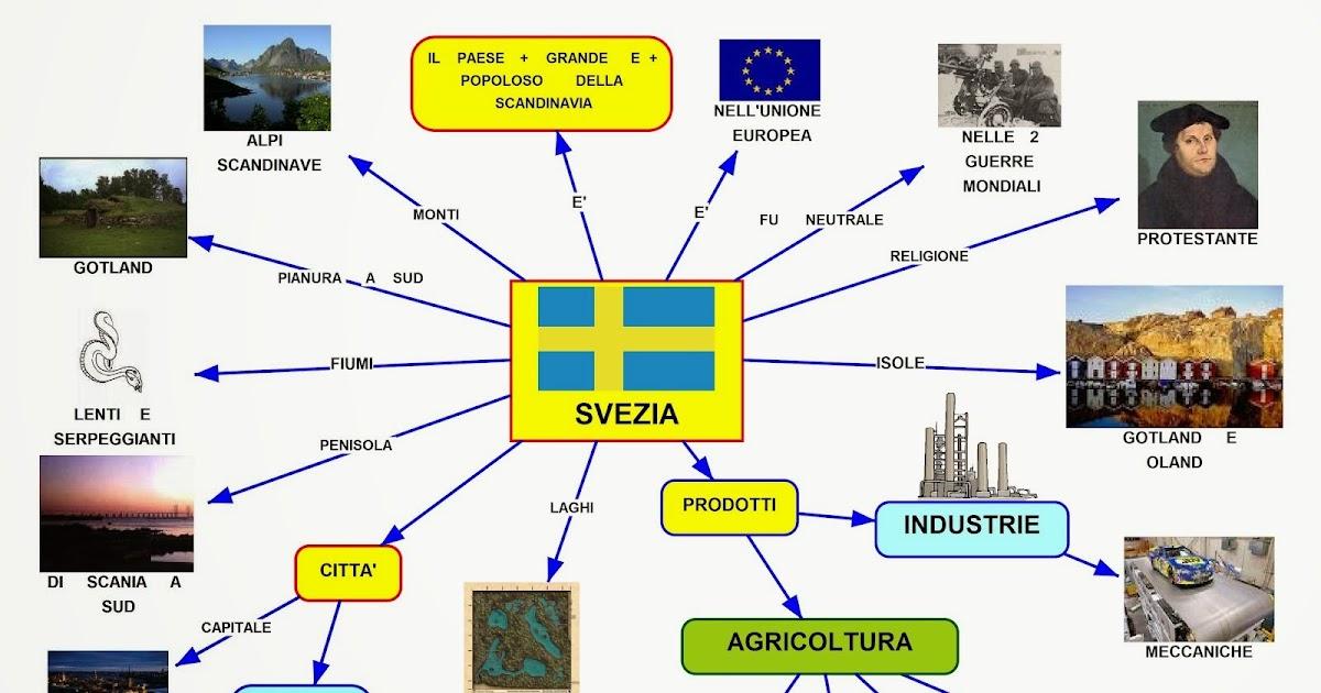 Cartina Della Svezia.Mappa Concettuale Svezia Scuolissima Com