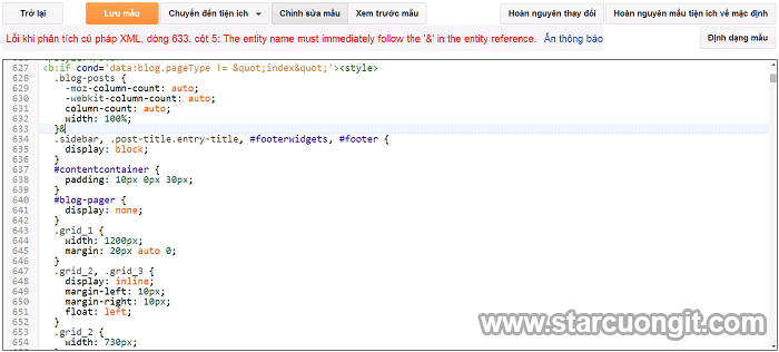 Sửa Lỗi không lưu được HTML khi chỉnh sửa Template Blogger