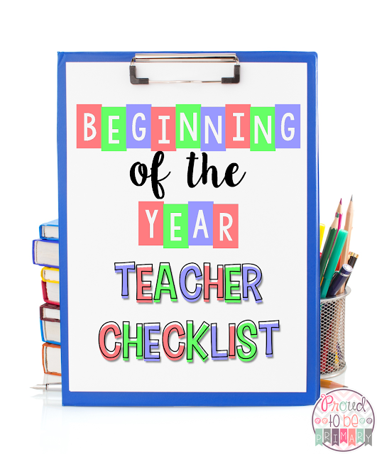 Beginning of the year teacher checklist by Proud to be Primary