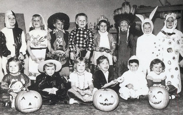 a photo of an early 1950s halloween party at the red bank manor nursery school in red bank the school was located in the basement of the apartments on